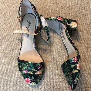 Free People printed Marigold block floral heels